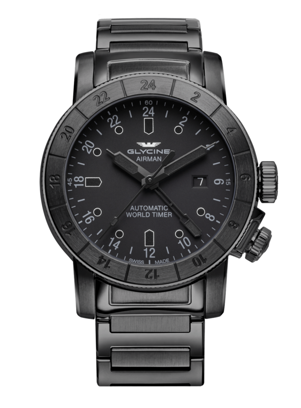 Glycine Airman Mens Automatic 44 mm Black Case Black Dial - Model GL0153