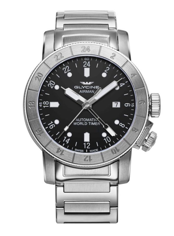 Glycine Airman Mens Automatic 44 mm Stainless Steel Case Light Grey Dial - Model GL0154