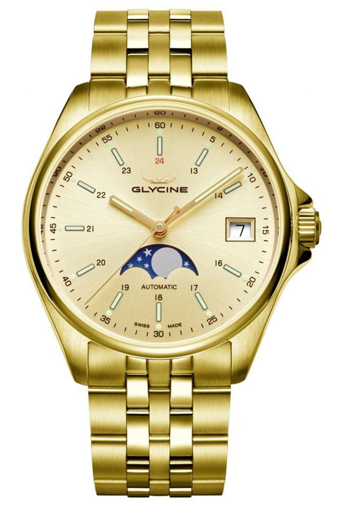 Glycine Combat Mens Automatic 36 mm Stainless Steel Case Yellow Dial - Model GL0247
