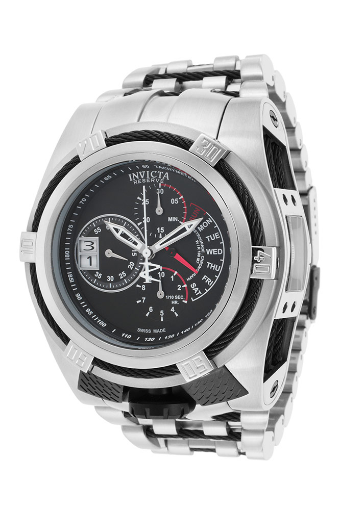 Invicta Bolt Tria Quartz Watch - Black, Stainless Steel case with Steel, Black tone Stainless Steel band - Model 16955